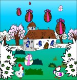 Illustration Chanson Frère Jacques, les oeufs tombent dans le jardin