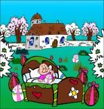 Dessin Chanson Frère Jacques, petit frère dort dans un lit dans le jardin