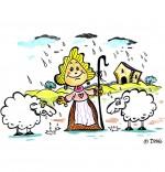 Illustration Chanson Il pleut Bergère, la bergère et deux moutons
