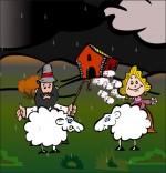 Dessin Chanson Il pleut Bergère, le berger, la bergère et deux moutons