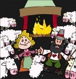 Dessin Chanson Il pleut Bergère, tous les moutons sont dans la bergerie