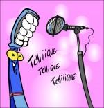 Dessin Chanson La Brosse à Dents, la brosse chante devant le micro