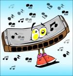 Dessin Chanson La Fleur de toutes les Couleurs, l'harmonica