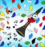 Illustration Chanson La Fleur de toutes les Couleurs, la clarinette et les pétales