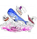 Illustration Chanson La Java du Cachalot, Jo joue avec les bateaux