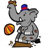 Dessin Chanson La Marche des Éléphants, bébé éléphant joue dans la boue