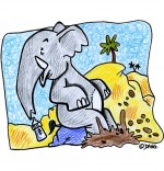 Illustration Chanson La Marche des Éléphants, bébé éléphant patauge dans la boue