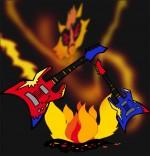 Dessin Chanson La Valse des Loups, les guitares dansent avec le feu