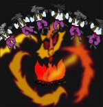 Dessin Chanson La Valse des Loups, ronde de loups autour du feu