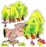 Illustration Chanson le furet qui court dans la forêt