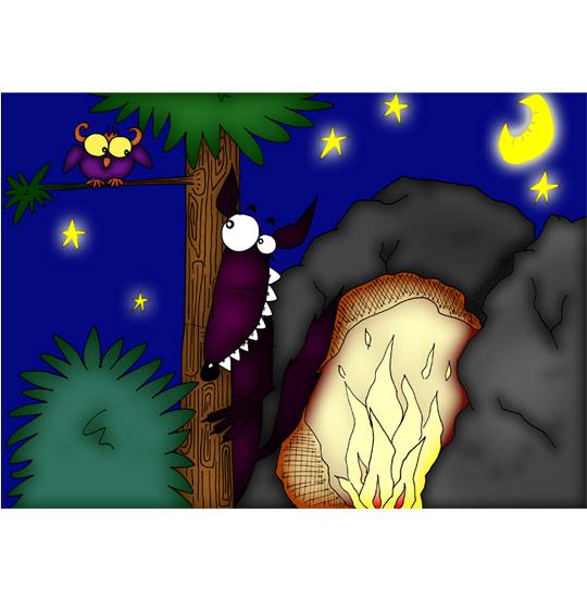 Dessin Le Loup Sympa, caché devant la caverne, illustrateur Ane Pô 2 Banane