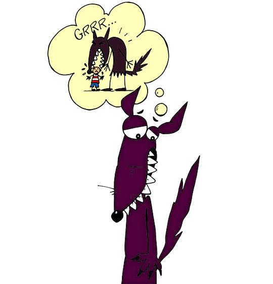 Dessin Le Loup Sympa, le loup sympa songe aux loups méchants, illustrateur Ane Pô 2 Banane