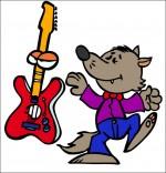 Illustration Chanson Le Loup Sympa, petit loup et la guitare électrique