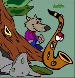 Illustration Chanson Le Loup Sympa, petit loup et le saxo dans la forêt