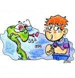 Illustration Chanson Le serpent, un serpent fait peur à un enfant