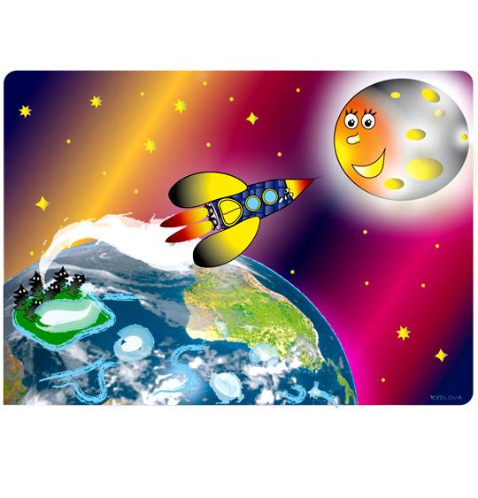 Dessin Madame Fusée, la fusée s'envole vers la lune, illustrateur Rydlova