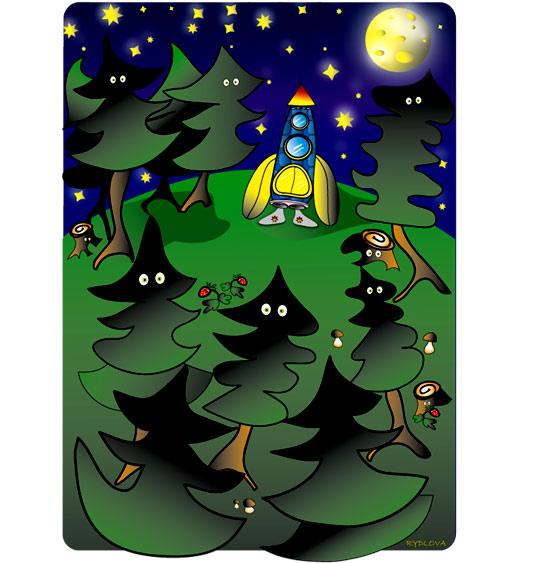 Dessin Madame Fusée, la fusée s'est endormie dans la forêt, illustrateur Rydlova
