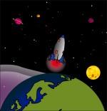 Chanson Madame Fusée, la fusée navigue de la terre à la lune