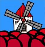Illustration Chanson Meunier tu dors, le moulin dans un champ de tulipe