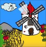 Dessin Chanson Meunier tu dors, un moulin dans le vent