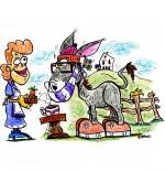 Illustration Chanson Mon âne, l'âne vient boire son chocolat