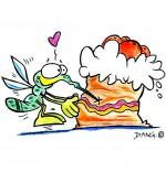 Illustration Chanson Petit moustique pique un gâteau