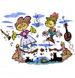 Dessin Chanson Sur le Pont du Nord, deux jeunes gens dansent sur un pont qui s'écroule