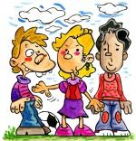 Dessin Comptine Am Stram Gram, trois enfants jouent