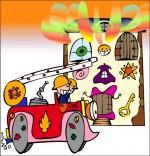Dessin Comptine Au feu les pompiers, la maison brûle