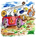 Illustration Comptine Au feu les pompiers, le camion de pompier