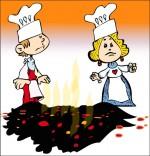 Comptine Au feu les pompiers, le cuisinier et la cuisinière sont désolés.