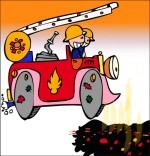 Dessin Comptine Au feu les pompiers, trop tard, la maison a brûlé