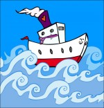 Dessin Comptine Bateau, ciseaux, le bateau dans les vagues