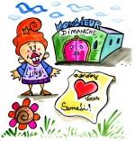 Illustration Comptine Bonjour Madame Lundi, Madame Lundi veut aller à la fête samedi
