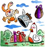 Dessin Comptine Boum bing bang, c'est Pâques le lapin vole