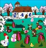 Dessin Comptine Boum bing bang, c'est Pâques, des oeufs en chocolat, des poules, des lapins