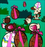Illustration Comptine Boum bing bang, c'est Pâques, les  poules, les oeufs, le lapin dans le jardin