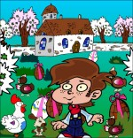 Dessin Comptine Boum bing bang, c'est Pâques, le jardin rempli d'oeufs de Pâques
