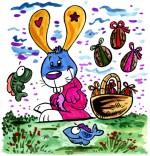 Dessin Comptine Ce matin dans mon jardin des oeufs en chocolats
