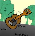 Dessin Comptine Dansons la capucine, la guitare pour la musique