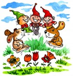 Illustration Comptine Deux petits lapins, deux lapins dansent avec trois lutins