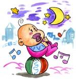 Dessin Comptine Dodo, l'enfant do, un bébé s'endort en équilibre sur un ballon