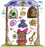 Dessin Comptine Je fais le tour de la maison ! Une maison vraiment bizarre.
