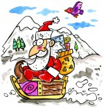 Illustration Comptine L'as-tu reconnu ? C'est le père Noël, le père Noël fait de la luge