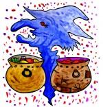 Illustration Comptine La soupe à la sorcière, 2 marmites au choix