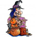 Illustration Comptine La soupe à la sorcière, le chat met la patte dans la marmite de soupe