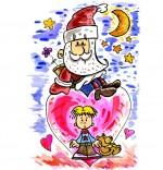 Illustration Comptine Lettre au père Noël, un père Noël sur un coeur