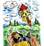 Illustration Comptine Meunier tu dors, le moulin fusée