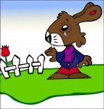 Dessin Comptine Mon petit lapin a bien du chagrin, dans le jardin