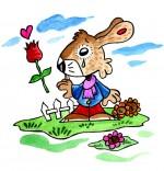 Dessin Comptine Mon petit lapin a bien du chagrin, une larme à l'oeil